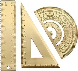 3 件装黄铜三角尺量角尺套装,几何比例尺,数学半圆量尺,三角形方尺,绘图工具套件,适合学生建筑师工程师