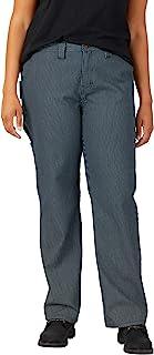 Dickies 女式加大码宽松直筒木匠山核桃条纹长裤