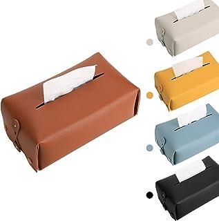 KEVANCHO 皮革纸巾盒盖 方形矩形 纸巾盒支架分配器 适用于汽车、家庭、浴室、卧室、办公室、床头柜、办公桌和桌子(棕色,长方形)