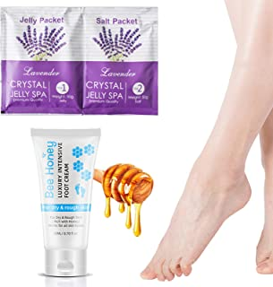 Lavender 果冻足浸泡蜂蜜足霜,去除死皮老茧,保湿干燥脚,修复破裂的脚跟,放松舒缓和恢复您的双脚,男女适用