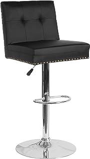 Flash Furniture Ravello 现代可调节高度酒吧凳,带装饰*装饰,黑色皮革柔软