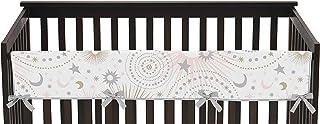 Sweet Jojo Designs 腮红粉色、金色、灰色和白色星星和月亮长款婴儿床护栏婴儿牙胶保护罩适用于天体系列
