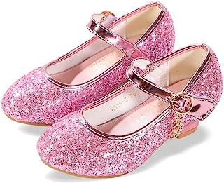 ALPHELIGANCE 女童玛丽珍闪光婚礼派对礼服鞋,低跟公主花朵系带鞋童鞋