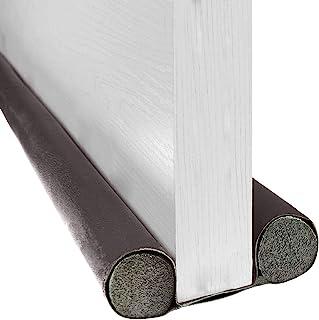 BAINING 双挡板,37 英寸(约 91.4 厘米)双侧门下窗底部密封条噪音阻滞器,可水洗可切割皮革管填充 EPE 适用于室内门和窗户停止设计,咖啡