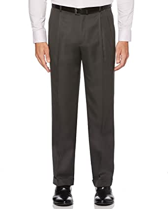 Perry Ellis 男式经典修身弹性腰双褶袖口裤, 石头灰(Castlerock) 38W x 29L