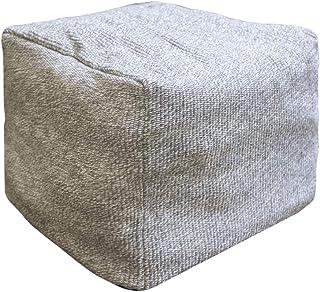 Riarevt 小袋盖无填充,Ottoman 脚凳,方形小袋Ottoman Boho,柔软针织棉麻袋,客厅卧室小袋(灰色,41.9 厘米 x 41.9 厘米 x 32.8 厘米)