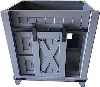 30 英寸(约 76.2 厘米)灰色浴室梳妆台谷仓门风格 RTA 橱柜