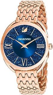 施华洛世奇水晶正品水晶魅力手表,金属表带,玫瑰金色调 - 高级石镶嵌瑞士制造钟表珠宝和日常配饰