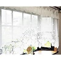 日本制造 起绒蕾丝 风格窗帘 白色 145㎝巾×85㎝丈 4580301659771