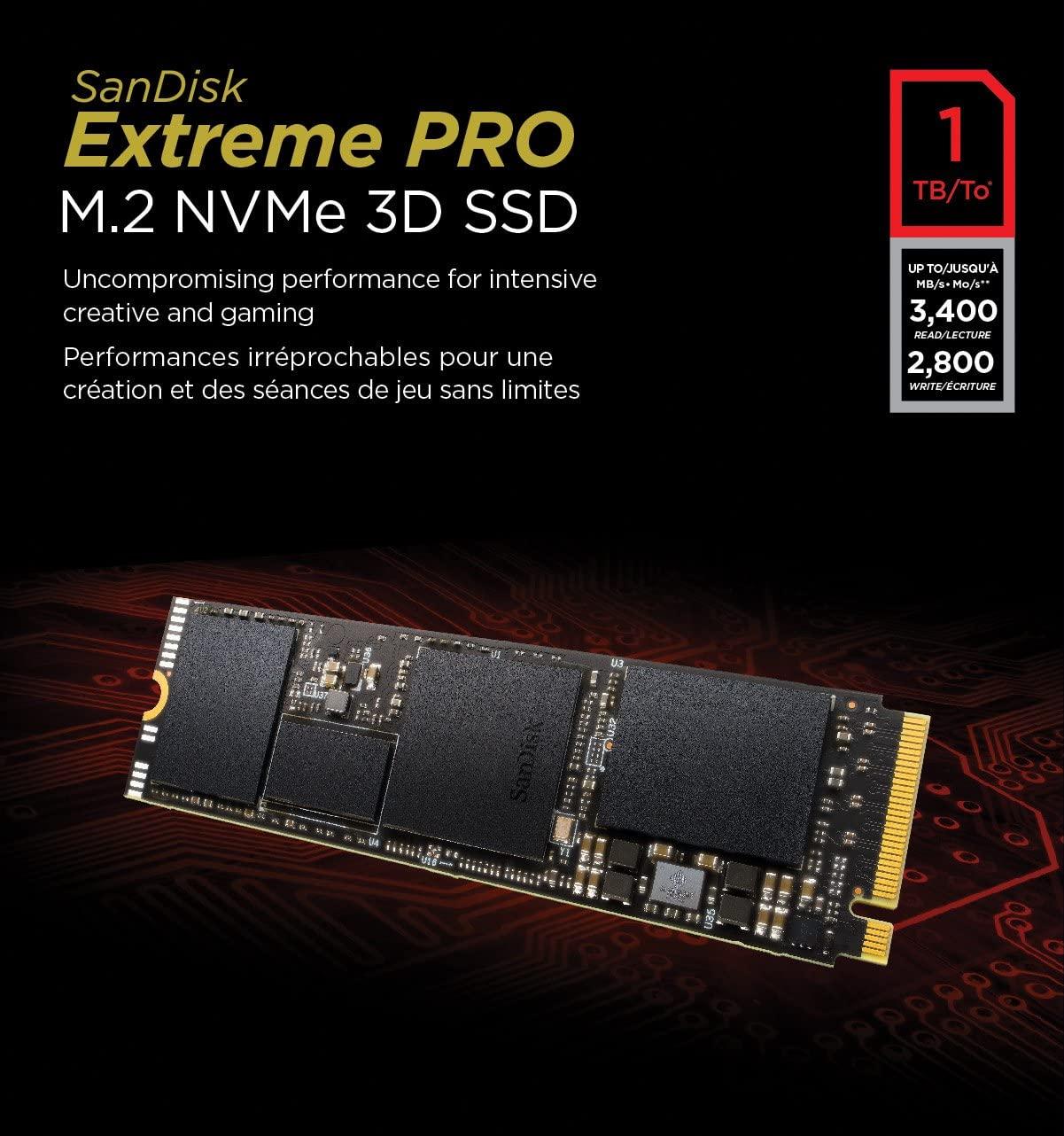 多层缓存,比sata块6倍!1TB SanDisk闪迪 Extreme Pro 至尊超极速3D版 M.2 NVMe固态硬盘