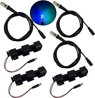 3 件套,海洋蓝* LED 灯,带 5 英尺(约 1.5 米)电缆插座和电池座 - 用于支撑电影景观逃生室的水特殊效果照明 12V DC G4 硅胶灯泡
