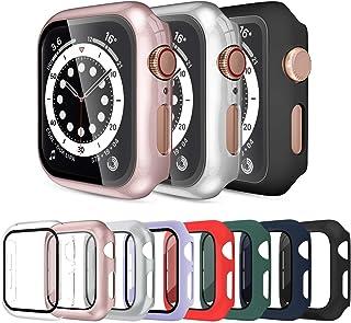 Surundo 8 件装 Apple Watch 保护套 44 毫米 兼容 iWatch 系列 6/5 / 4 / SE,内置钢化玻璃屏幕保护膜全保护盖保险杠,适用于 Apple Watch 配件 44 毫米