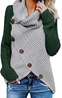 BLENCOT 女式休闲堆领不对称纽扣裹身下摆套头毛衣套衫
