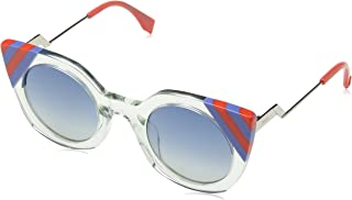 Fendi FF 0240 1ED Waves Green Crystal Plastic Cat-Eye Sunglasses Blue Gradient Lens