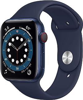 新款 Apple Watch 系列 6(GPS + 蜂窝,44 毫米) - 蓝色铝制外壳带深*蓝运动表带