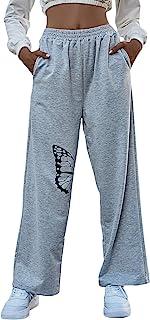 SOLY HUX 女式蝴蝶印花弹性高腰运动裤带口袋