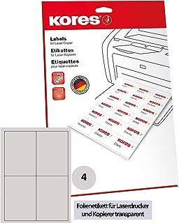 Kores 薄膜标签透明激光+复印机 105.0 x 145.0 毫米 10页 40张标签
