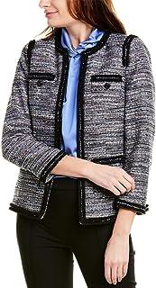 Anne Klein 女士粗花呢撞色饰边夹克