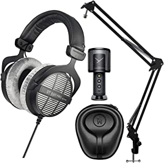 Beyerdynamic 拜亚动力 DT-990 Pro 声学开式耳机(250 欧姆),配有 Beyerdynamic Fox 专业 USB 工作室麦克风、Knox 齿轮麦克风悬架和 Knox Gear 硬壳套套装(4 件)