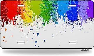 AOYEGO 彩色绘画车牌彩虹刷飞溅点汽车标签金属车牌盖汽车框架 12x6 英寸