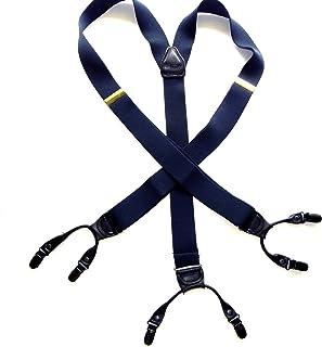 Holdup Suspender Company 的 XL 号海洋蓝双层风格背带带黑色防滑金属夹