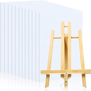 12 件 9 x 12 英寸(约 22.8 x 30.4 厘米)迷你艺术画布拉伸和 1 件桌面展示架 A 型框架画架,用于手工绘画