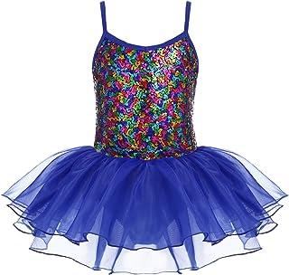 Kidsmian 女童吊带亮片闪亮芭蕾舞短裙紧身连衣裤闪亮舞蹈蓬裙