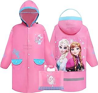 Disney 冰雪奇缘艾莎安娜连帽雨衣雨衣斗篷外套,适合女孩幼儿儿童 - 粉色