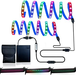 JFDWOPHT LED 灯条电池供电防水柔韧 RGB 带迷你三键控制器,适用于滑板车长板(2 × 19 英寸)