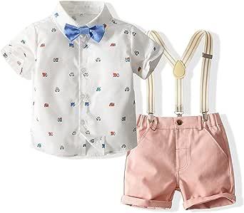 Gentleman Suit 男婴棉质衬衫蝴蝶结连体衣 3 件套服装套装