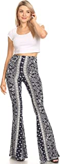 SWEETKIE 波西米亚喇叭裤,弹性腰围,女式阔腿裤,纯色和印花,弹性柔软 *蓝 Stone 8191v X-Large