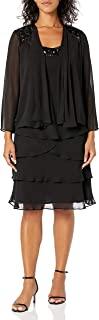 S.L. Fashions 女士装饰多层夹克连衣裙