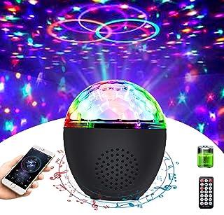 Disco Ball 灯便携式蓝牙频闪灯带遥控器(电池供电)16 色声控派对灯适用于舞蹈派对儿童生日礼品室婚礼圣诞