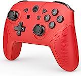 游戲控制器兼容 Switch 和 Switch Lite,無線 Pro 控制器 游戲手柄 遙控操縱桿帶 NFC 喚醒、渦輪、雙振動和運動控制功能(紅色)
