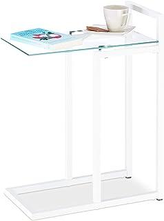 Relaxdays 玻璃和金属茶几,装饰沙发桌,HBT 60 x 24.5 x 44.5 厘米 白色 Standard 10023153_49