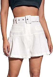 Milumia 女式高腰阔腿短裤带扣腰带前拉链办公室工作短裤