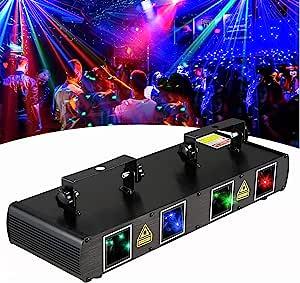 舞台灯专业 DJ 激光灯 4 镜头 RGBY 声音激活 LED 舞台激光灯光效果派对音乐灯 DMX 控制迪斯科舞厅舞台照明。