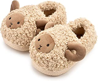 Zoolar 幼儿男孩女孩可爱家居拖鞋温暖毛绒儿童鞋毛皮衬里冬季动物室内鞋