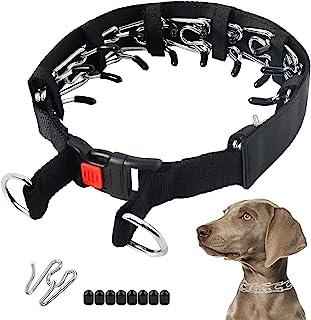 狗爪项圈,狗狗训练用夹项圈,带保护装置和快速释放按扣,适用于中小型犬(小号,17.7 英寸,适合 30.48-40.64 厘米颈,黑色)