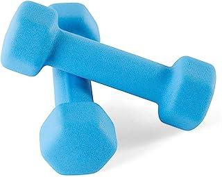 Portzon 2 件套氯丁橡胶哑铃 手臂重量 防滑防滚动 深蓝色(氯丁橡胶哑铃)