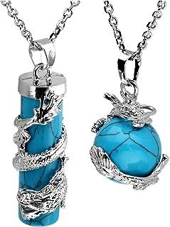 JOVIVI 2 件龙环圆圆圆柱宝石*水晶吊坠项链套装