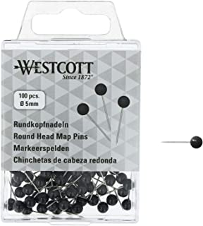 WESTCOTT 圆头针,100件,直径5毫米,长16毫米,黑色,E-10502 00