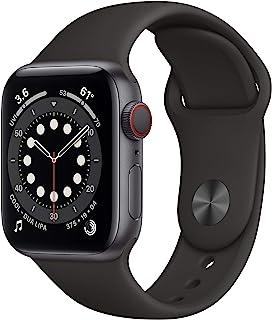 新款 Apple Watch 系列 6 (GPS + 蜂窝,40mm) - 太空灰色铝制表壳,黑色运动表带