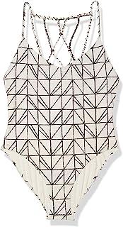 Dolce Vita 女式粗糙及滚筒抽象几何格子串珠后背连体泳衣