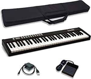 Dulcette DC12 61 键便携式钢琴键盘 | 内置放大扬声器 | 半加重键 | 持续踏板 MIDI/USB | 电动键盘 钢琴 61 键 | 携带包(黑色)