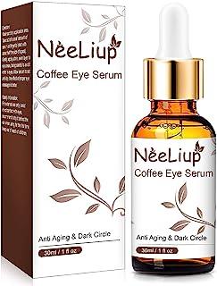 Under Eye Serum 适用于黑眼圈和浮肿,眼袋*,*和皱纹,甘油和咖啡因眼部精华,男士女士保湿眼霜,含透明质酸,细纹