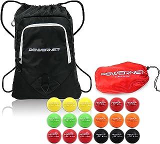 PowerNet 2.8 英寸棒球加重渐进训练球捆绑包带背包:全套重球 18 只装 12 至 20 盎司(12 至 20 盎司). 增强手眼协调能力