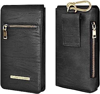 PULOKA 手机皮套 PU 皮革袋带皮带环[L 码]手机皮带夹便携包兼容 iPhone 12 Pro Max/三星 Note 20 超黑色
