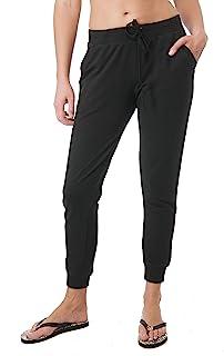 Khanomak 女式前口袋抽绳休闲法式厚绒布慢跑裤