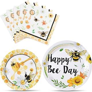 Bee Party 餐盘和餐巾纸 - Happy Bee Day 儿童派对用品蜜蜂派对餐具套装晚餐甜点蛋糕盘午餐餐巾餐巾可容纳 16 位宾客 48 件